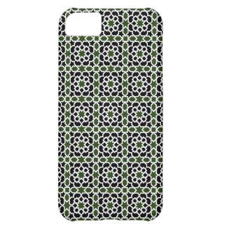 Mosaico 09 de geometría de mosaico verde y negro carcasa iPhone 5C