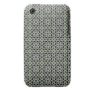 Mosaico 09 de geometría de mosaico verde y negro Case-Mate iPhone 3 cárcasas