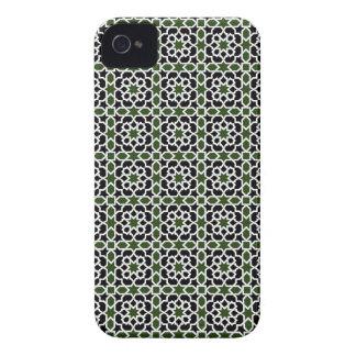 Mosaico 09 de geometría de mosaico verde y negro iPhone 4 cárcasa