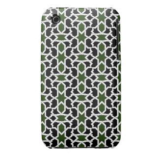 Mosaico 09 de patrón verde y negro de geometría funda para iPhone 3 de Case-Mate