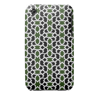 Mosaico 09 de patrón verde y negro de geometría iPhone 3 Case-Mate cárcasas