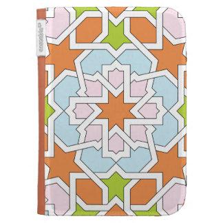 Mosaico 12 de geometría marroquí naranja y rosa