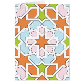 Mosaico 12 de geometría marroquí naranja y rosa tarjeta