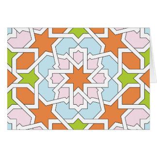 Mosaico 12 de geometría marroquí naranja y rosa tarjeta pequeña