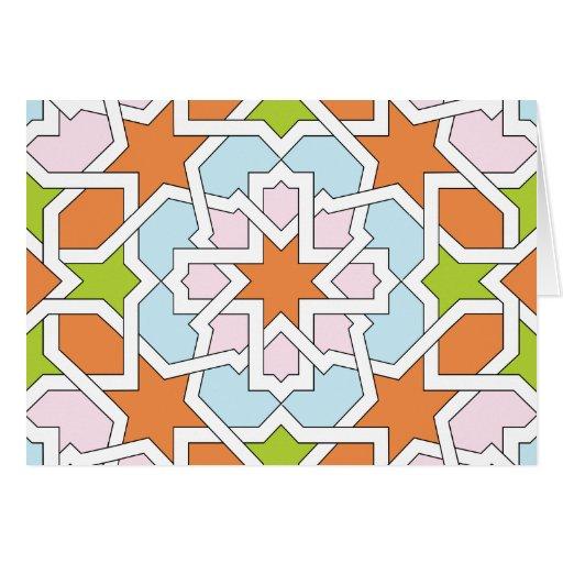 Mosaico 12 de geometría marroquí naranja y rosa felicitacion