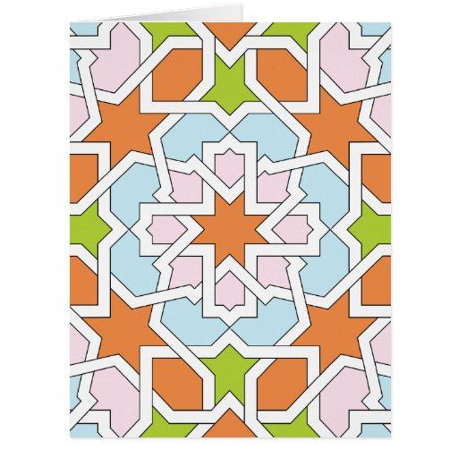 Mosaico 12 de geometría marroquí naranja y rosa tarjeton