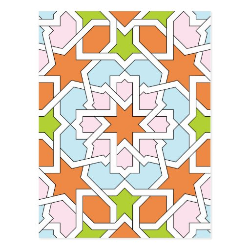 Mosaico 12 de geometría marroquí naranja y rosa postal
