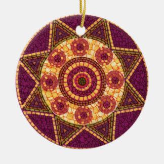Mosaico abstracto de la estrella adorno redondo de cerámica