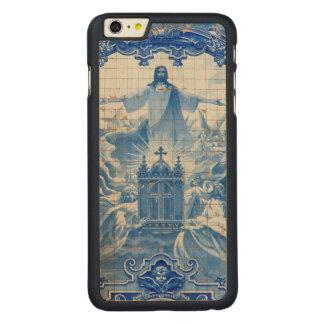 Mosaico azul de la teja de Jesús, Portugal Funda Fina De Arce Para iPhone 6 Plus De Carved