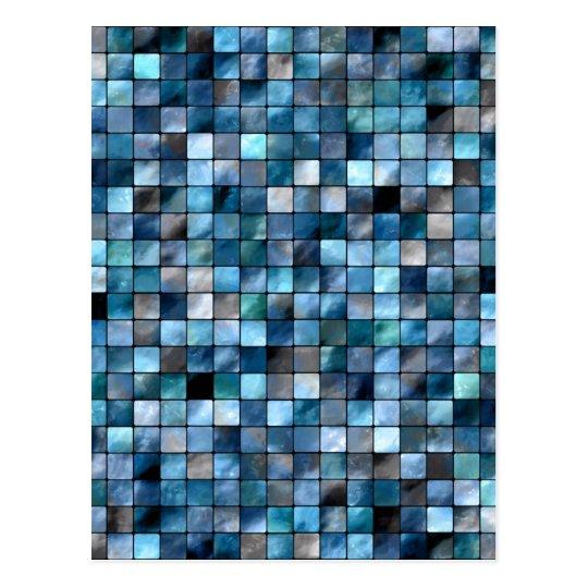 Mosaico azul de tejas postal