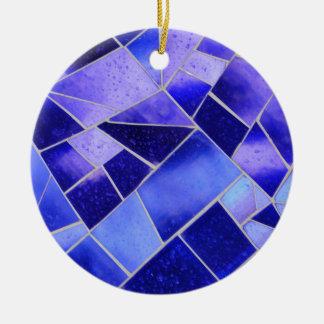 Mosaico azul eléctrico adorno redondo de cerámica