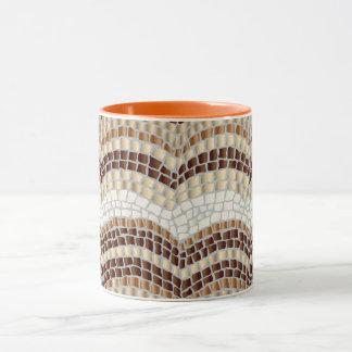 Mosaico beige taza combinada de 11 onzas