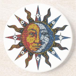 Mosaico celestial Sun y luna Posavasos