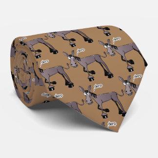 Mosaico cómico del burro con el fondo del marrón corbatas