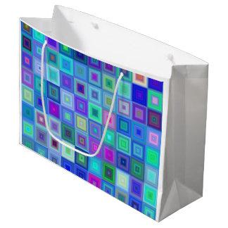 Mosaico cuadrado azul bolsa de regalo grande