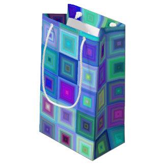 Mosaico cuadrado azul bolsa de regalo pequeña