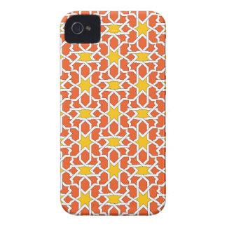 Mosaico de azulejo marroquí en naranja y amarillo funda para iPhone 4