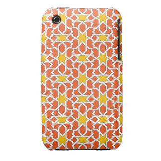 Mosaico de azulejo marroquí en naranja y amarillo iPhone 3 Case-Mate protectores