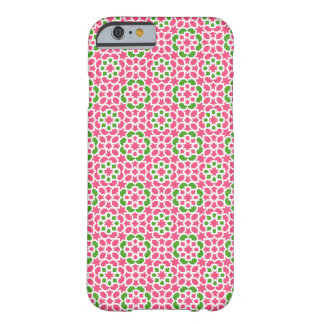 Mosaico de flores verde y rosa de Marruecos. Funda Barely There iPhone 6