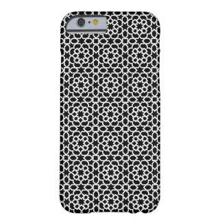 Mosaico de Marruecos y arabesco geométrico negro Funda Para iPhone 6 Barely There