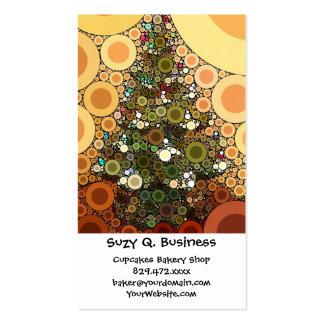 Mosaico del círculo del árbol de navidad buenas tarjetas de visita