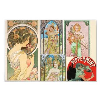 Mosaico francés del arte de las mujeres de Nouveau Cojinete