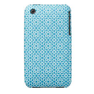 Mosaico geométrico de azulejo marroquí en azul Case-Mate iPhone 3 funda