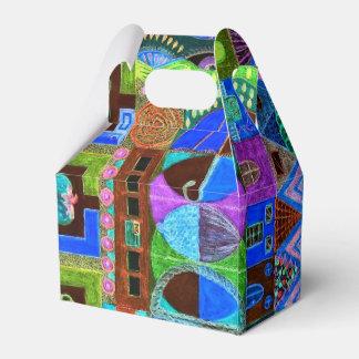 Mosaico intrépido y colorido de formas caja para regalos