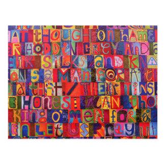 Mosaico moderno fresco de la letra tarjeta postal
