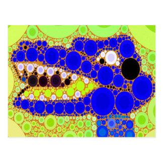 Mosaico retro de los círculos del cocodrilo azul postal