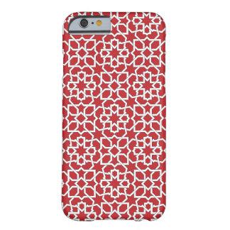 Mosaico rojo de Marruecos y arabesco geométrico. Funda Para iPhone 6 Barely There