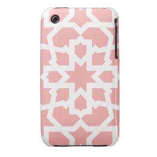 Mosaico rosa de azulejo marroquí geométrico en funda bareyly there para iPhone 3 de Case-Mate
