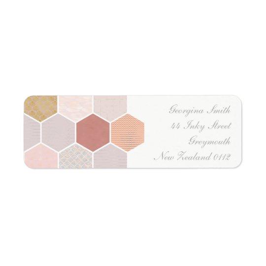 Mosaico rosado etiqueta de remitente