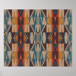Mosaico tribal étnico azul del trullo rojo póster