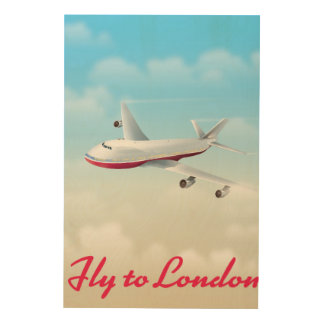 Mosca al poster del avión de Londres Impresión En Madera