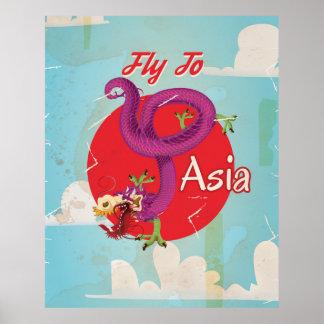 Mosca al poster del viaje del vintage de Asia Póster