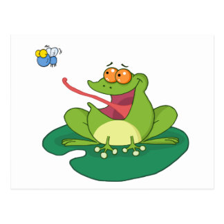 Mosca de cogida de la rana del dibujo animado postal