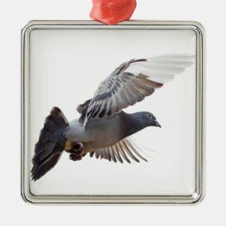 mosca de la paloma para amar paz de la alegría adorno navideño cuadrado de metal