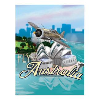 Mosca del vintage al poster del viaje de Australia Tarjeta Postal