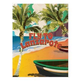Mosca del vintage al poster del viaje de Lanzarote Postal
