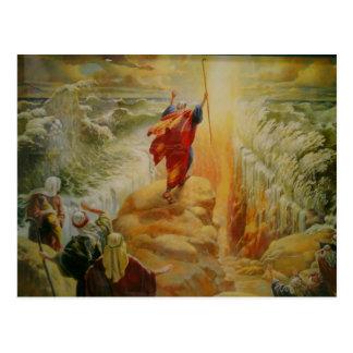 Moses que divide la postal del Mar Rojo