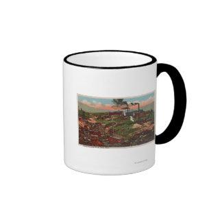 Mota, TA - vista de fábricas y hogares en la colin Tazas
