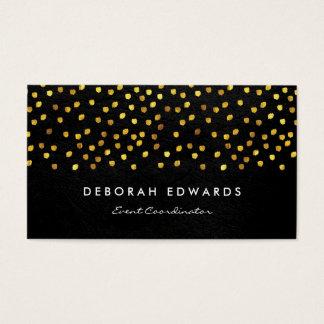 Motas de oro de la imitación de cuero exquisita tarjeta de visita