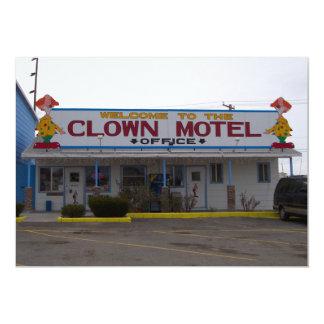 Motel del payaso invitación 12,7 x 17,8 cm