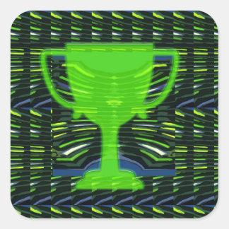 Motivación verde del ganador de la taza del trofeo pegatina cuadrada