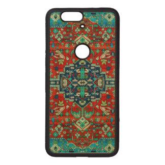 Motivo colorido de la alfombra persa del diseño fundas de madera para nexus s6p