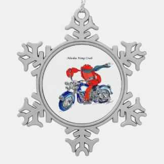 Motocicleta caprichosa de rey cangrejo de Alaska Adorno De Peltre Tipo Copo De Nieve