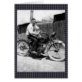Motocicleta de los años 20 del vintage tarjeta de felicitación
