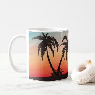 Motocicleta en la playa taza de café