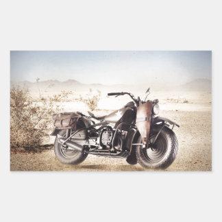 Motocicleta militar pegatina rectangular